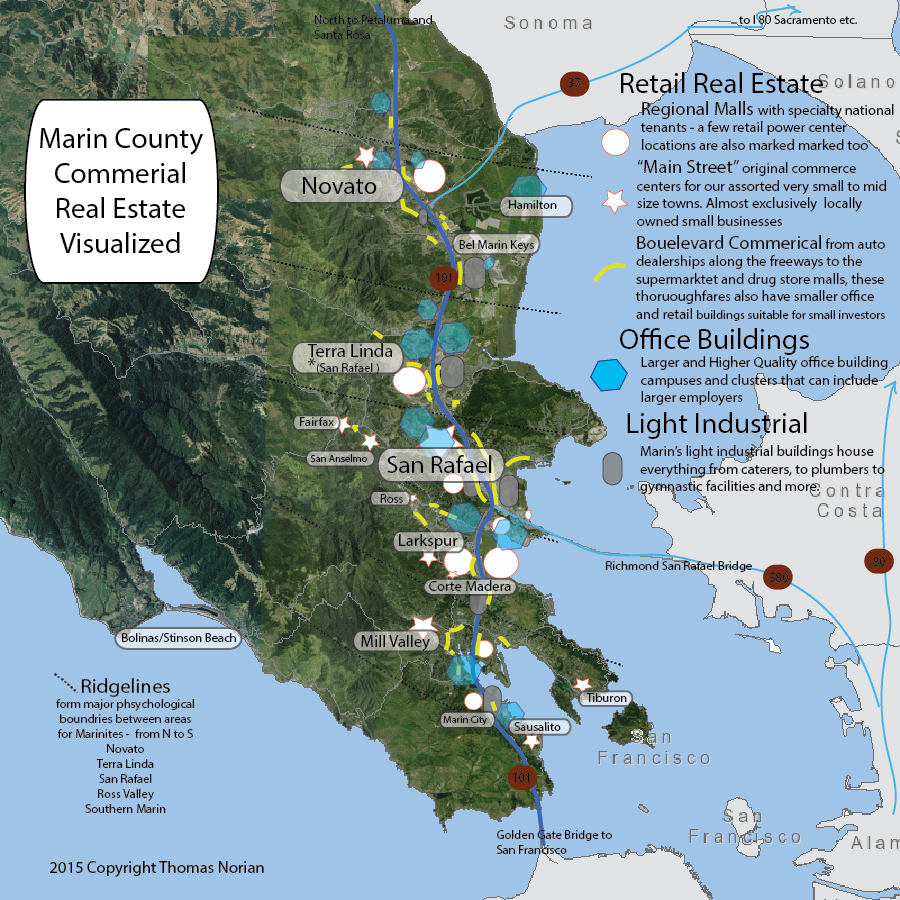 map of commercial real estate regions in Marin County California